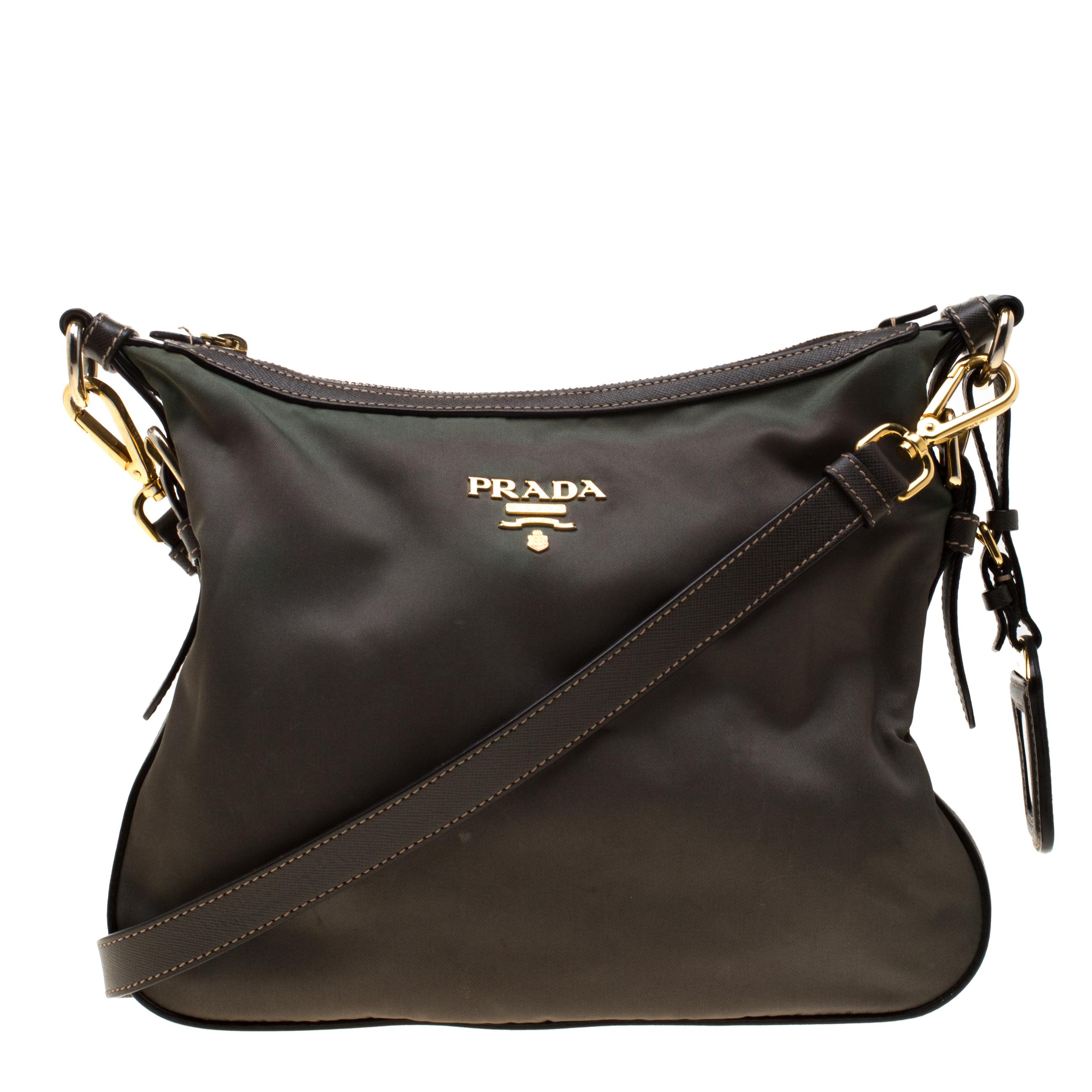 fa452ea9d1096a ... Prada Green/Brown Nylon and Leather Shoulder Bag. nextprev. prevnext