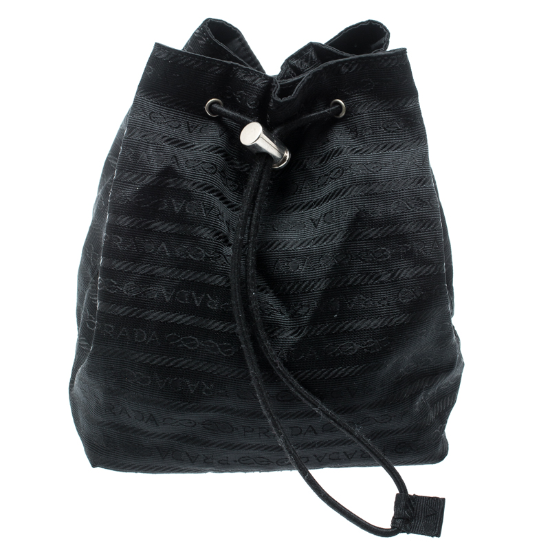 d87122aaf43a Buy Prada Black Nylon Bucket Pouch 192872 at best price