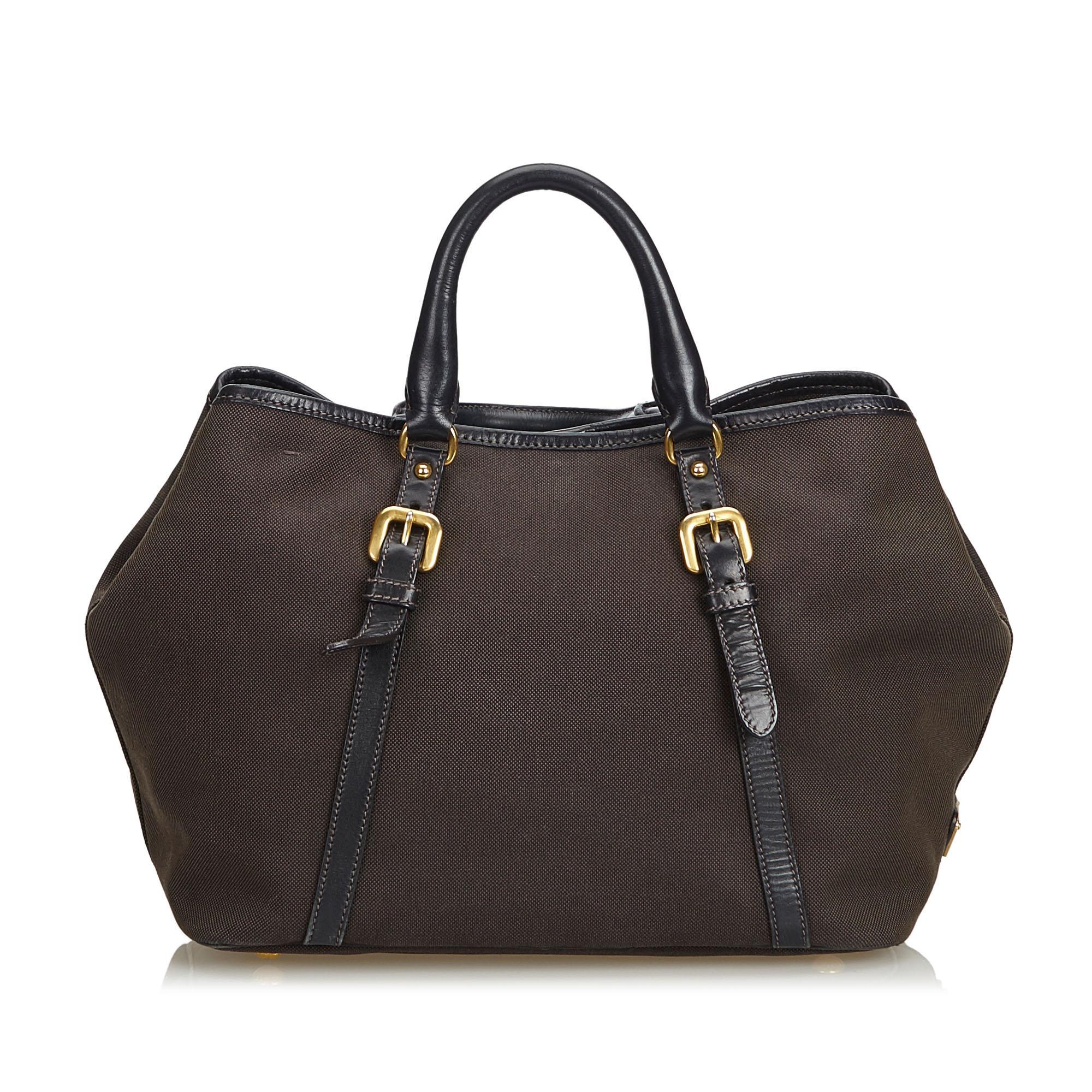 Prada Brown Canapa Fabric Tote Bag