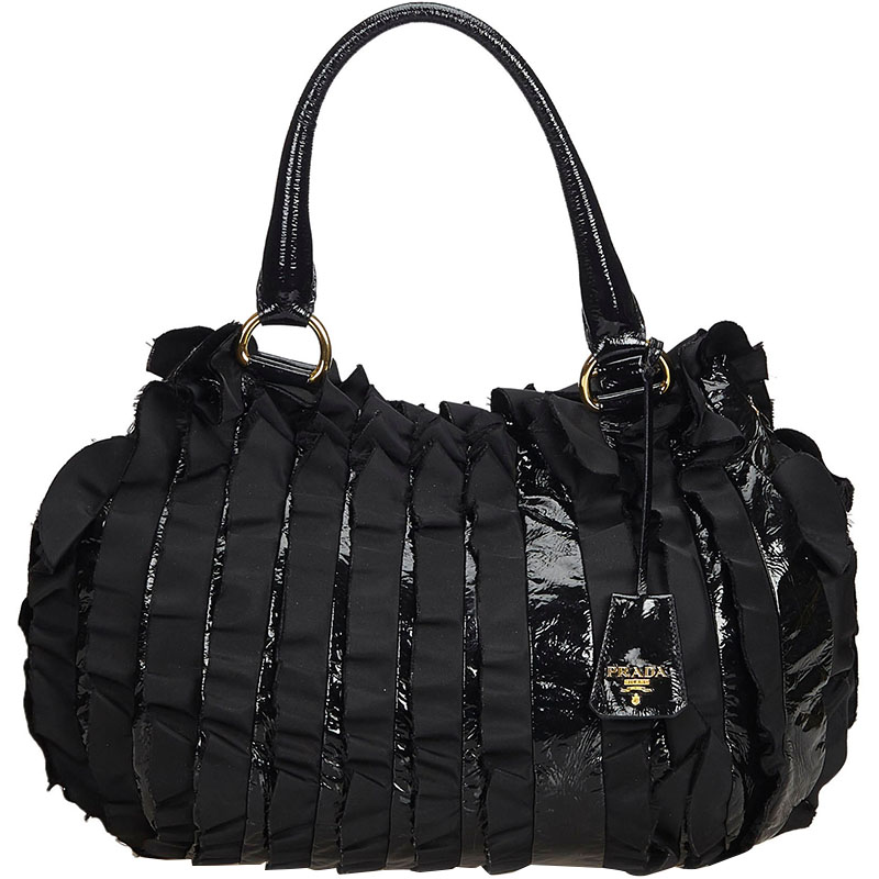 b355ce19 Prada Black Ruffled Patent Leather Satchel bag