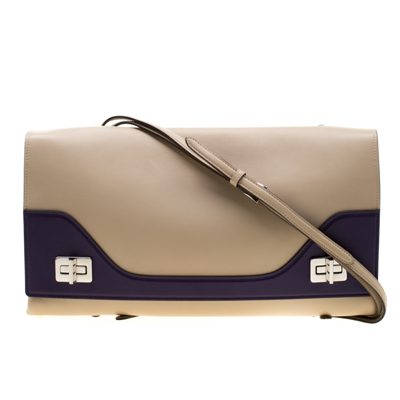 d9549313 Prada Cream/Purple Leather Vitello Soft Double Bag