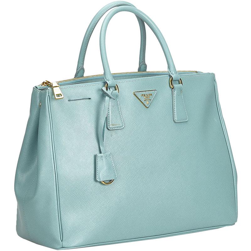 Prada Blue Saffiano Leather Galleria Tote