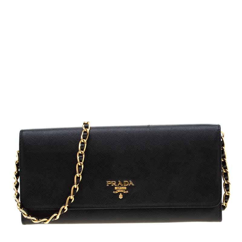 6f49f9a4ea3 ... Prada Black Saffiano Lux Leather Metal Oro Chain Wallet. nextprev.  prevnext