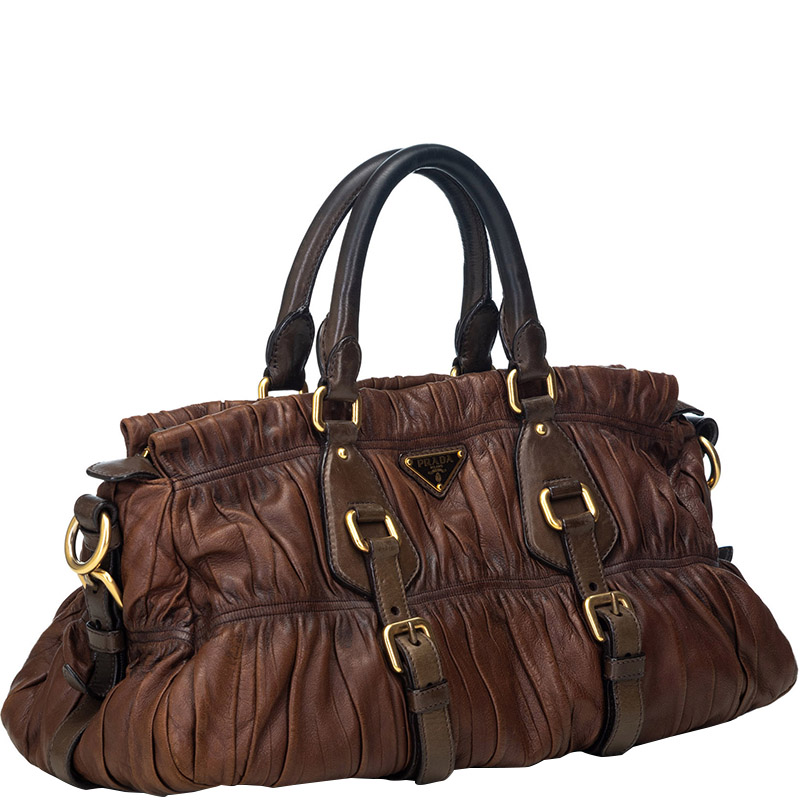 Prada Brown Gathered Leather Satchel