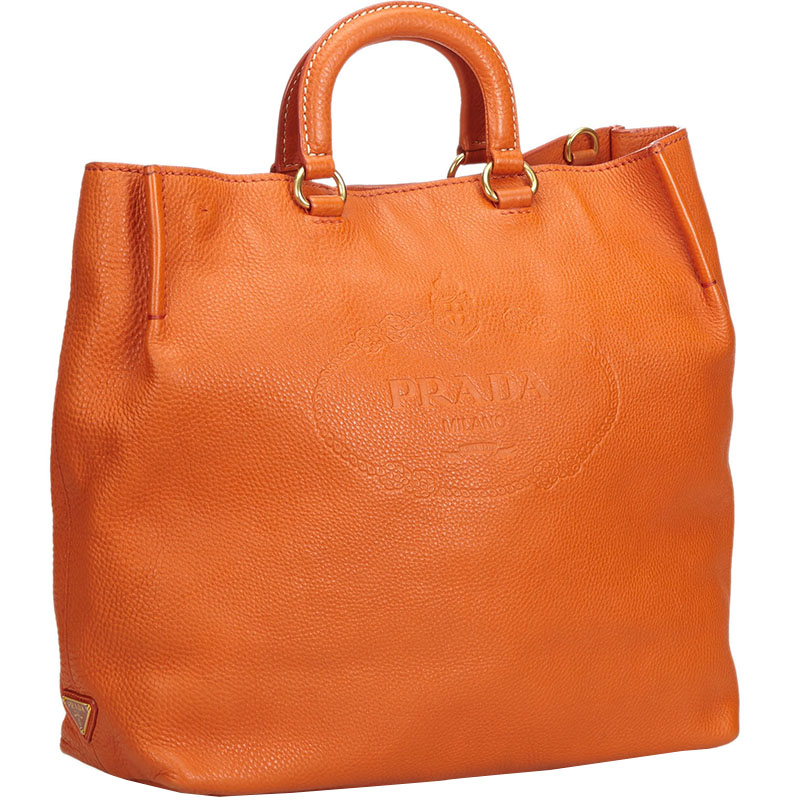 Prada Orange Leather Tote Bag  - buy with discount