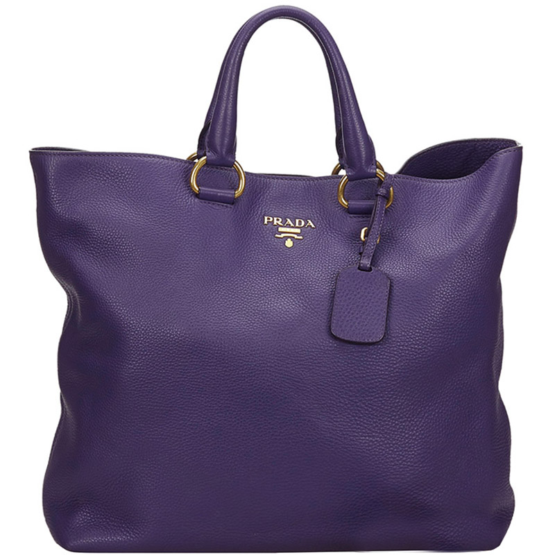 Prada Purple Vitello Daino Leather Tote