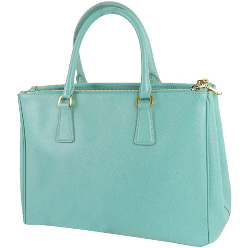 Prada Light Blue Saffiano Leather Tote Bag