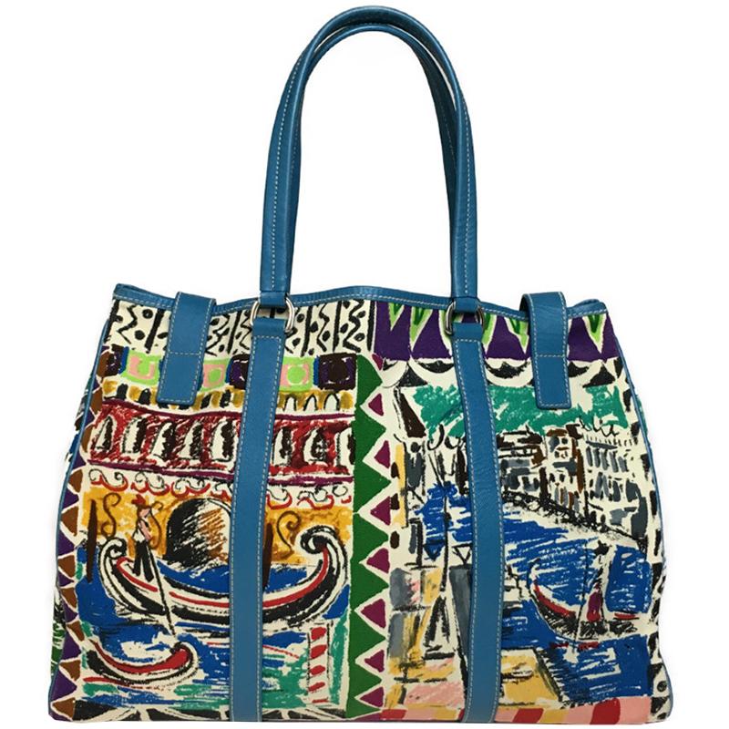 Prada Multicolor Canvas And Leather Tote Bag