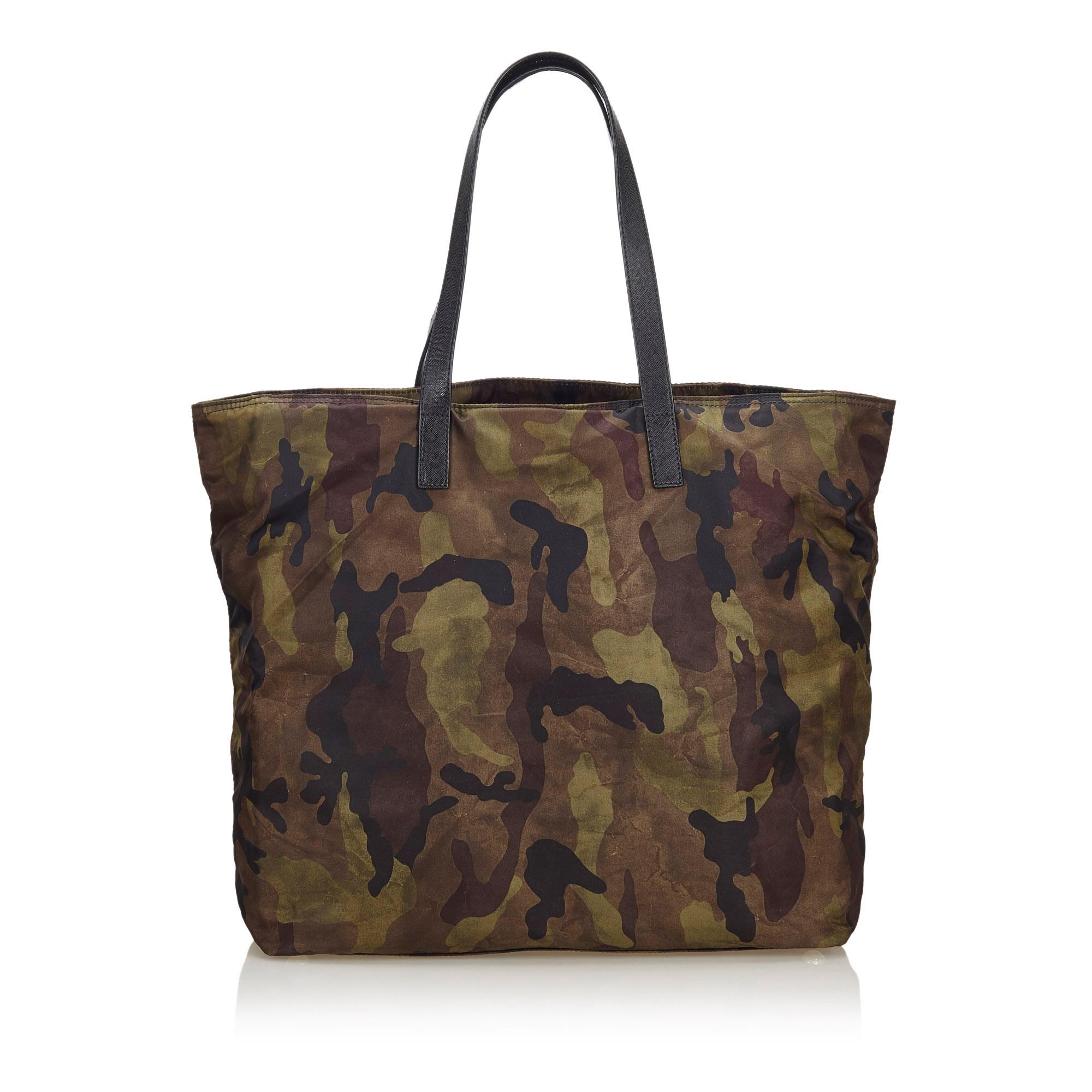 Prada Brown Camoflouge Tessuto Stampato Nylon Tote Bag