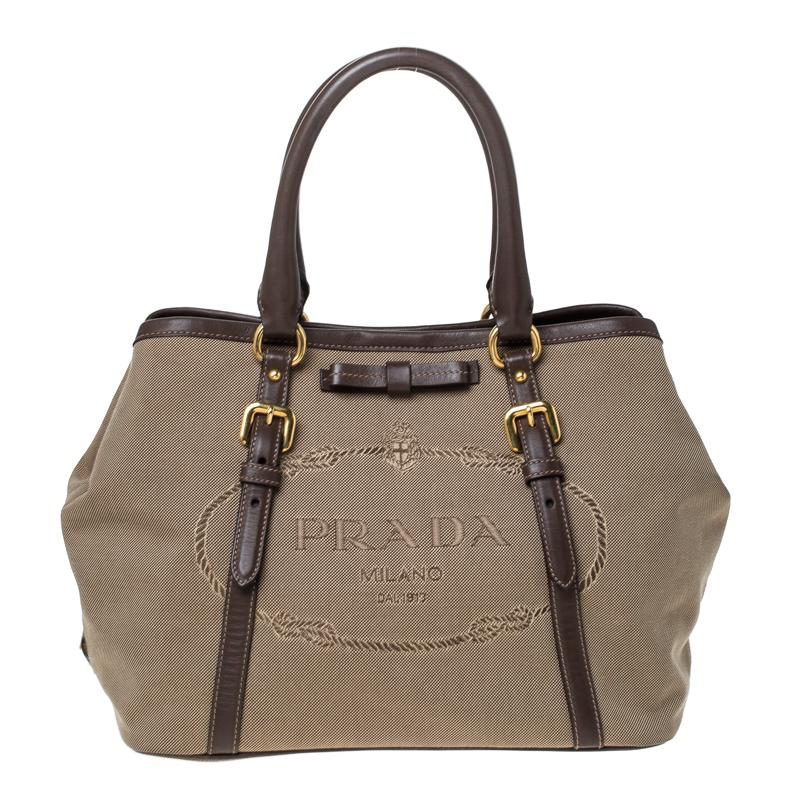 Prada Beige/Brown Jacquard Logo Canvas Bow Shoulder Bag