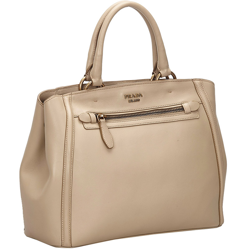 Prada Brown Leather Satchel, Beige  - buy with discount