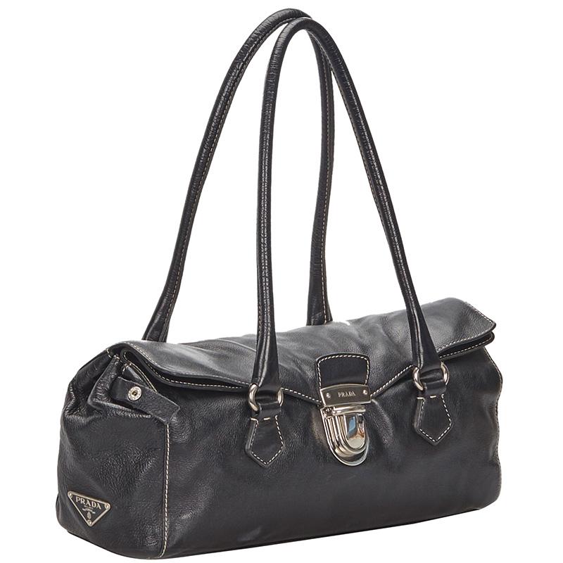 Prada Black Leather Easy Shoulder Bag