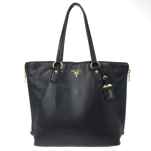 fa73090995df ... Prada Black Vitello Daino Side Zip Shopping Tote. nextprev. prevnext