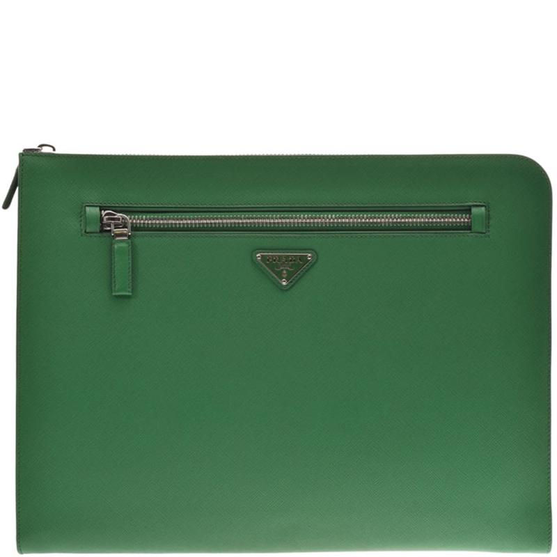 Prada Green Saffiano Leather Clutch Bag
