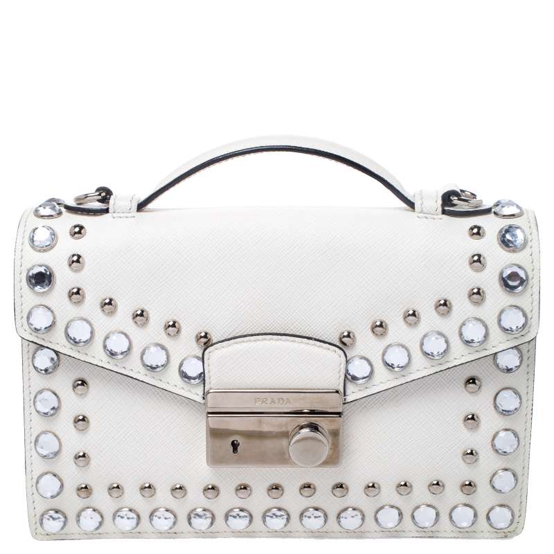 White Studded Saffiano Leather