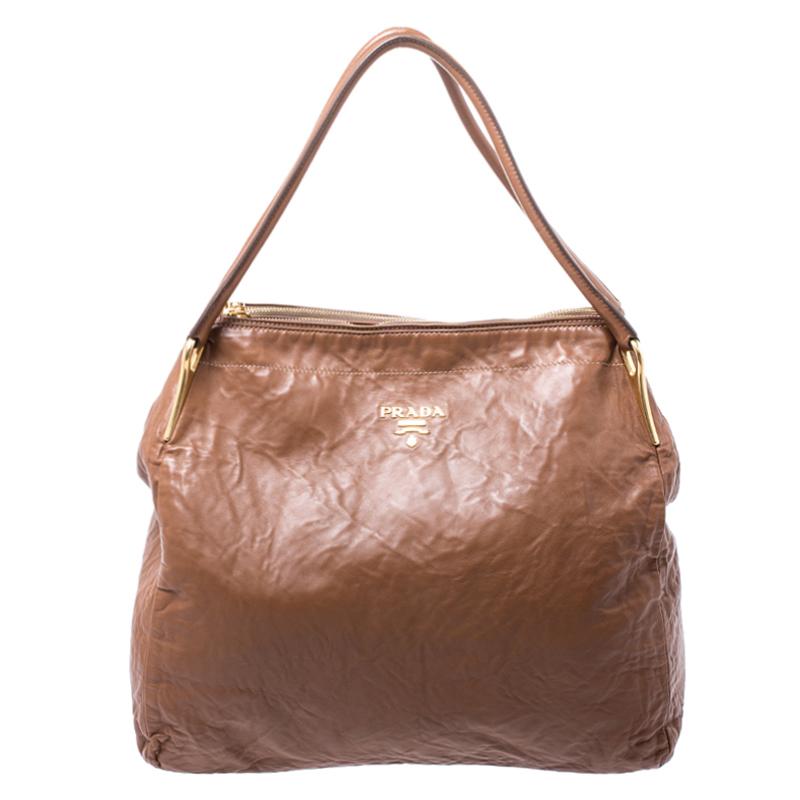Prada Brown Antique Leather Sacca 2 Manici Tote