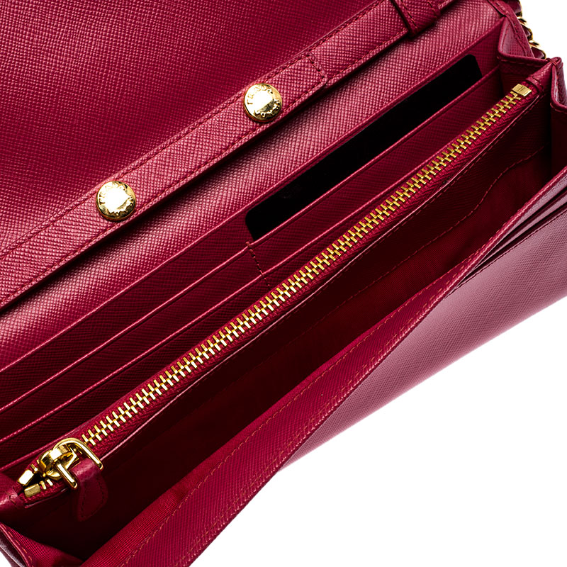 Prada Pink Saffiano Lux Leather Love Wallet on Chain