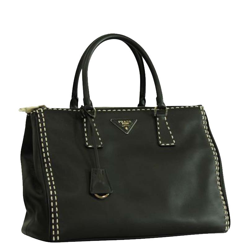 Prada Black Leather Double Zip Tote  - buy with discount