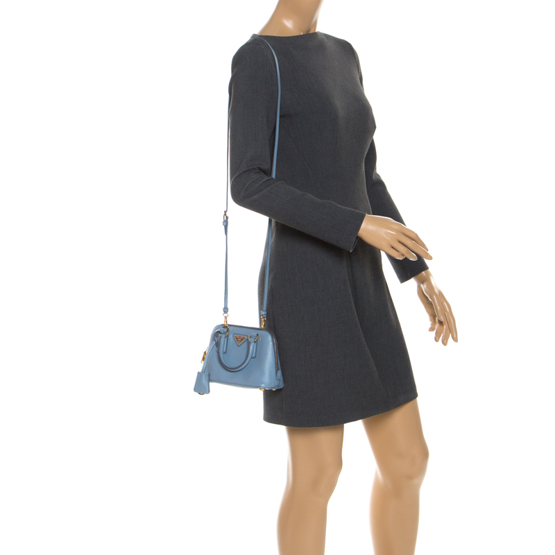 Prada Light Blue Saffiano Leather Mini Promenade Crossbody Bag
