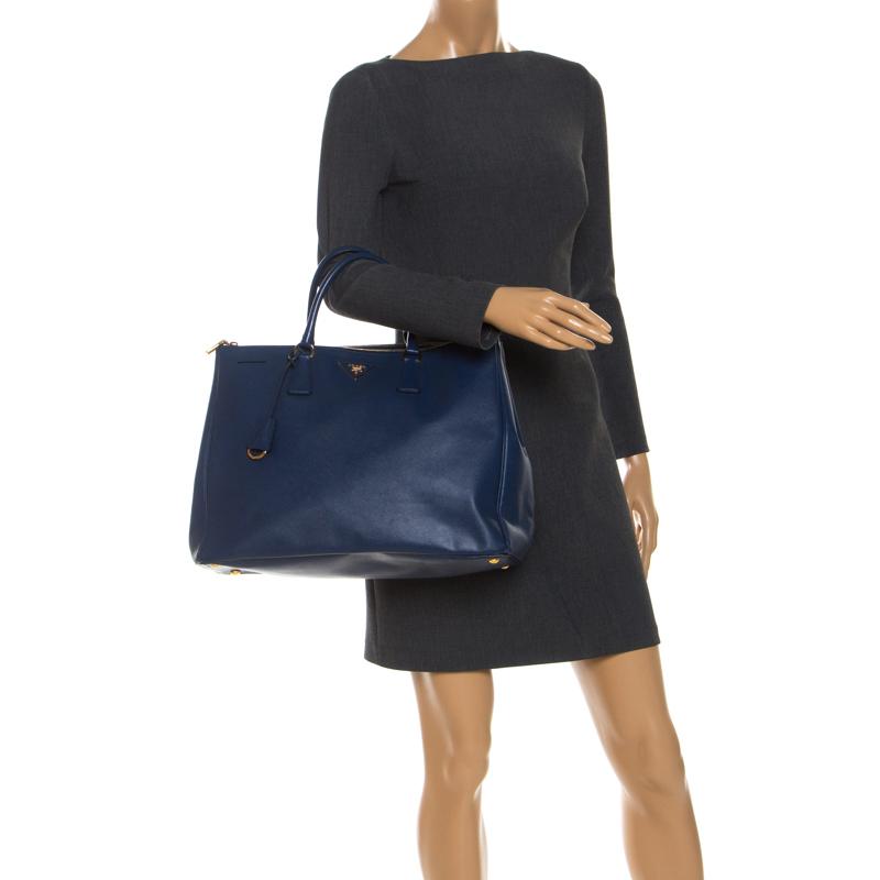 Prada Blue Saffiano Lux Leather Executive Double Zip Tote
