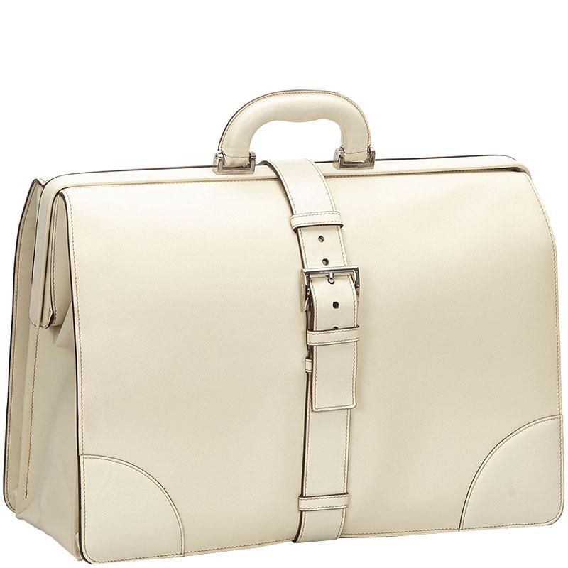 Prada White Saffiano Leather Business Bag