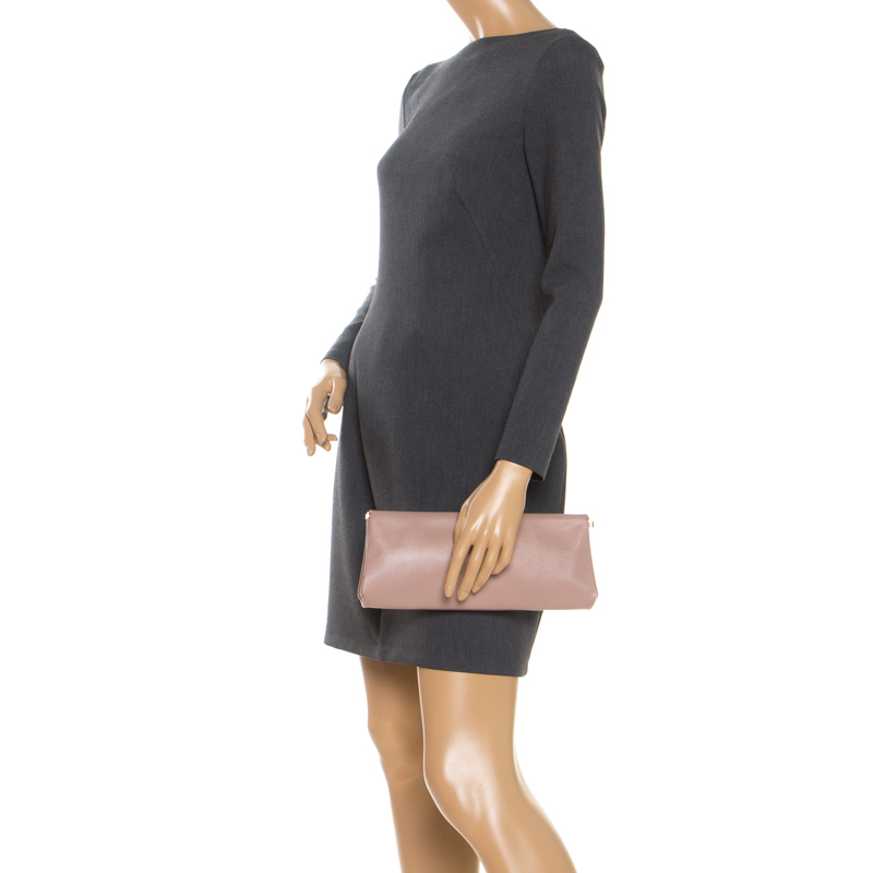 Prada Pink Saffiano Leather East-West Frame Clutch