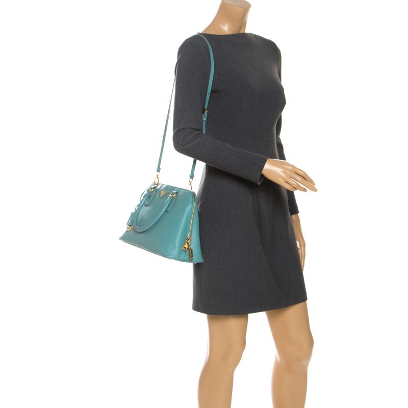 Prada Turquoise Saffiano Leather Medium Promenade Tote, Blue