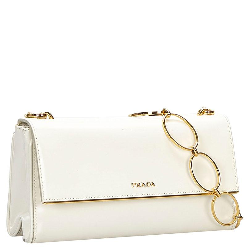Prada White Patent Leather Spazzolato Crossbody Bag