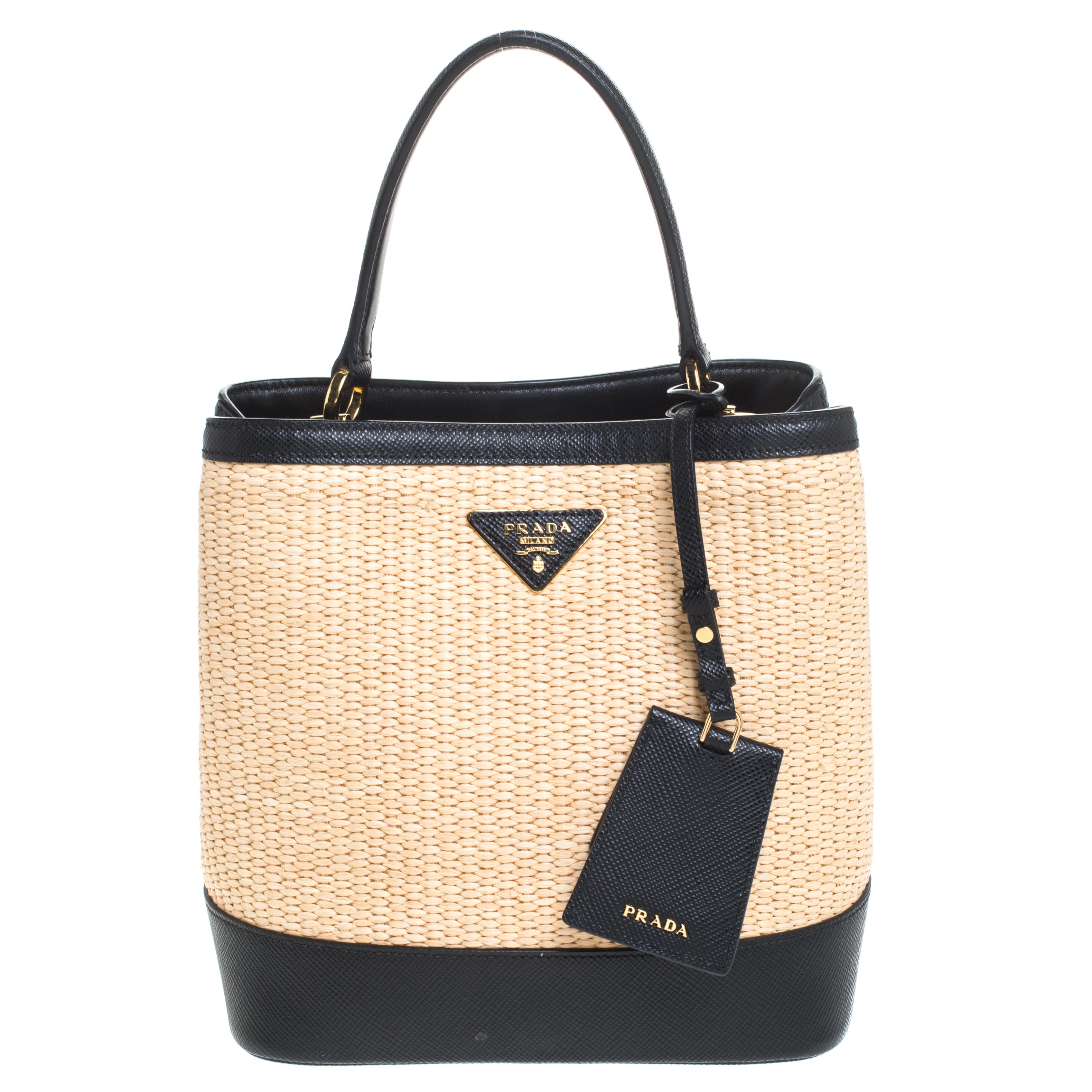 Prada Black/Beige Straw and Leather Medium Panier Top Handle Bag