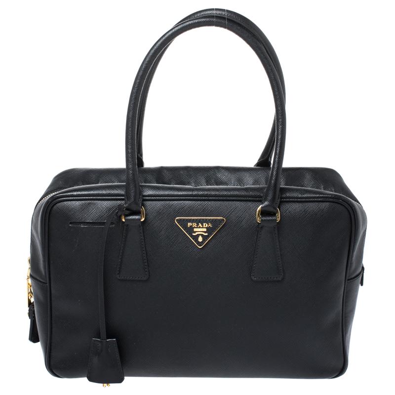 Prada Black Saffiano Lux Leather Satchel