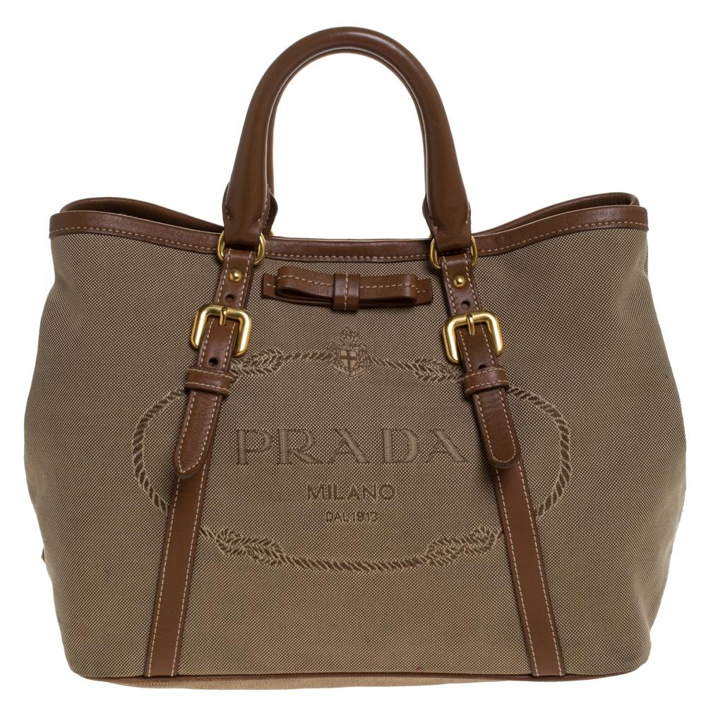 Prada Olive Green/Tan Logo Jacquard Fabric and Leather Tote