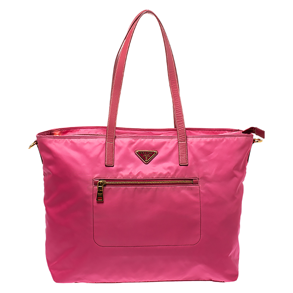 Prada Pink Nylon and Leather Large Shopper Tote