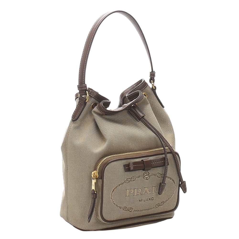 Prada Brown Canapa Canvas Shoulder Bag