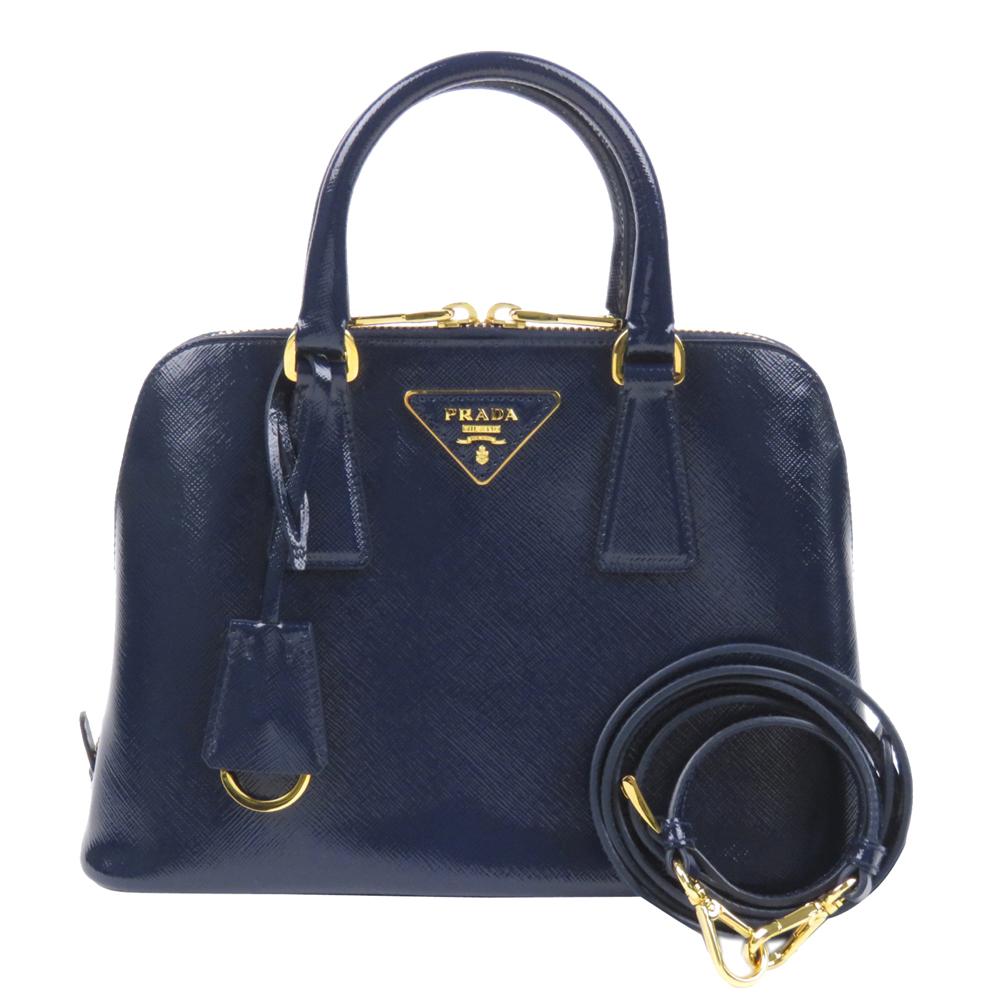 Prada Blue Patent Leather Small Saffiano Lux Promenade Satchel