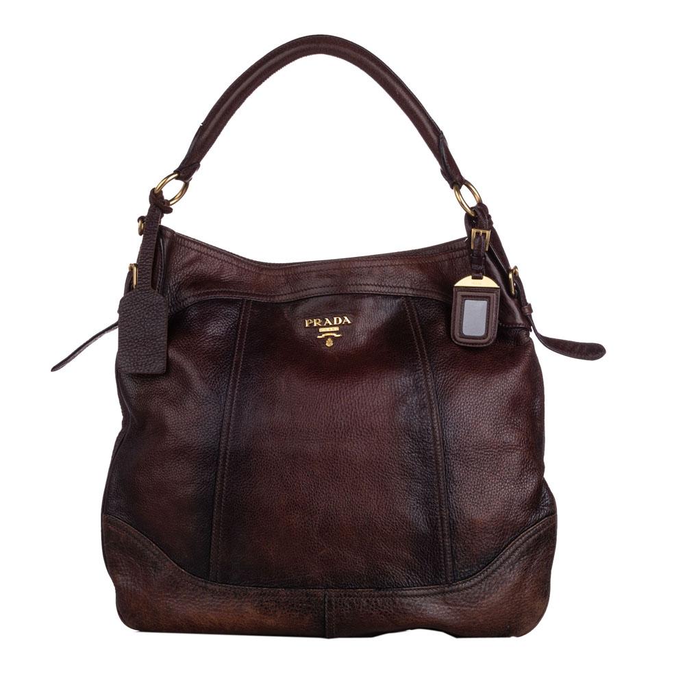 Prada Brown Leather Cervo Antik Hobo Bag