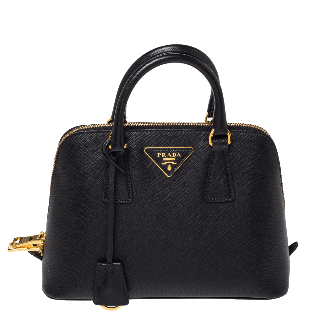 Prada Black Saffiano Lux Leather Small Promenade Crossbody Bag