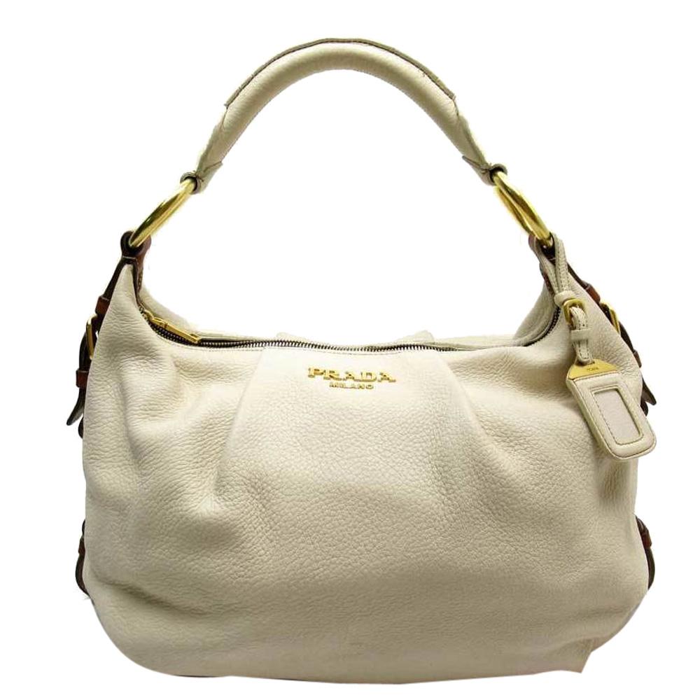Prada Cream Leather Zip Top Hobo Bag