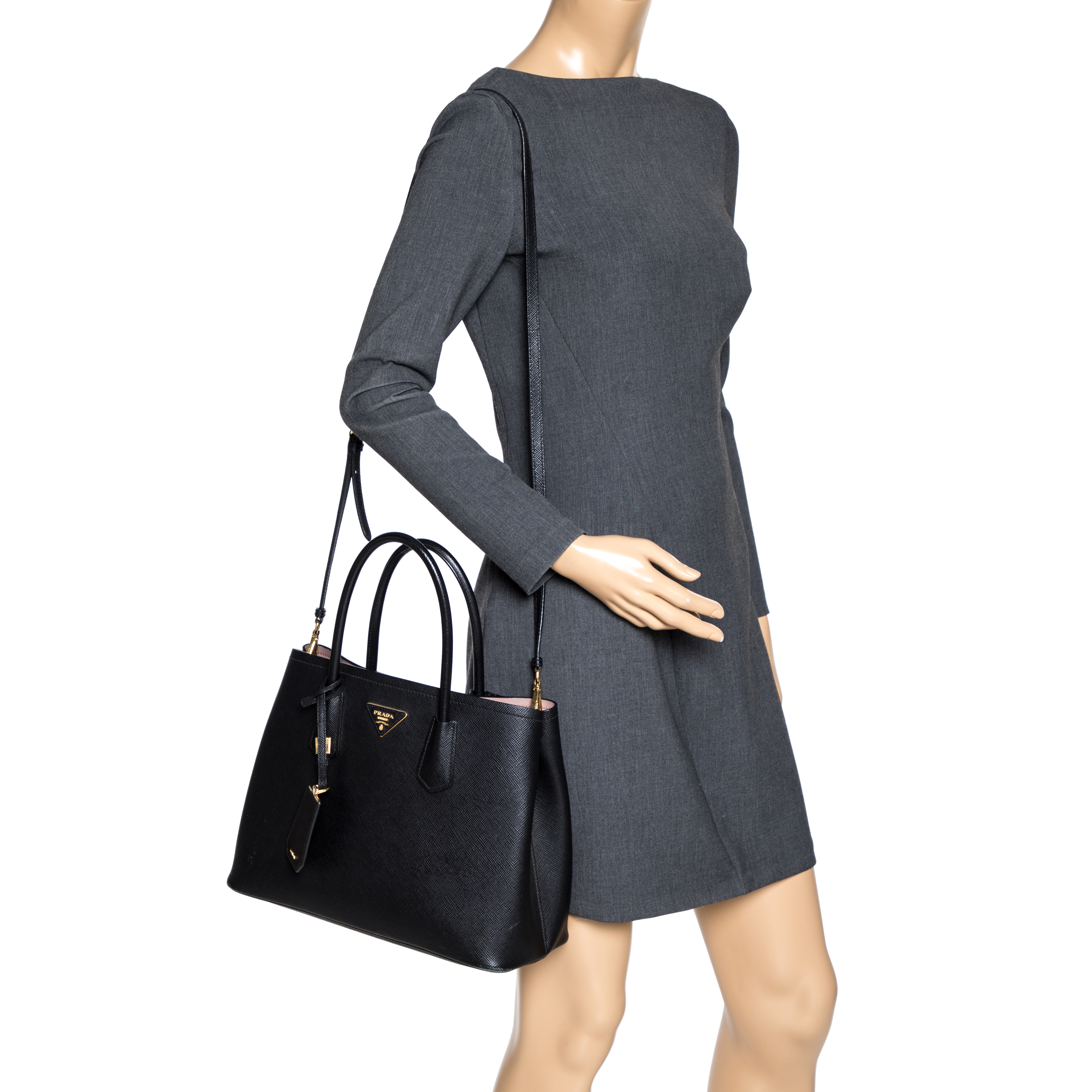 Prada Black Saffiano Lux Leather Double Tote  - buy with discount