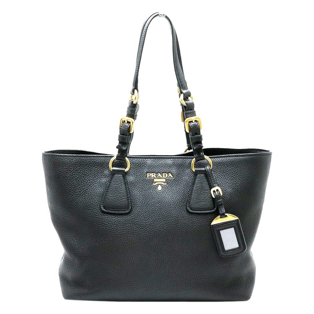 Pre-owned Prada Black Leather Vitello Daino Tote Bag