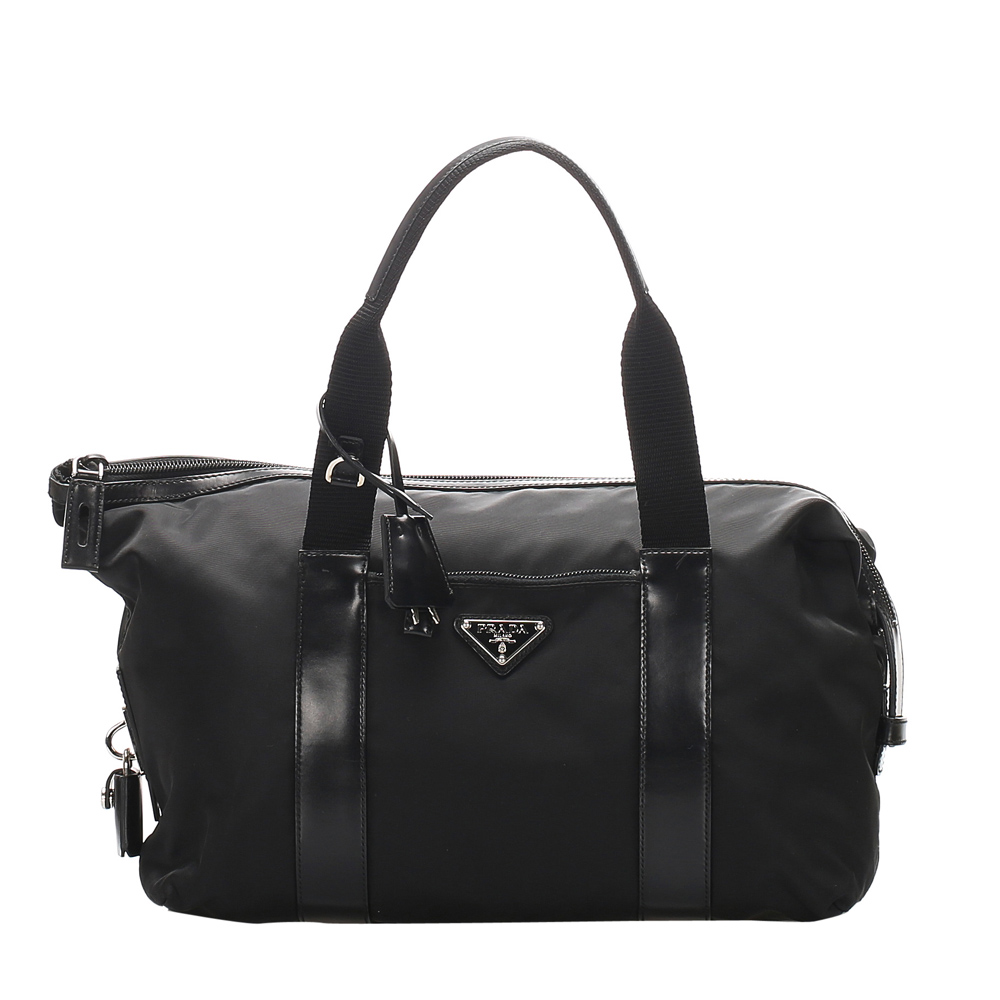 Pre-owned Prada Black Tessuto Nylon Duffel Bag
