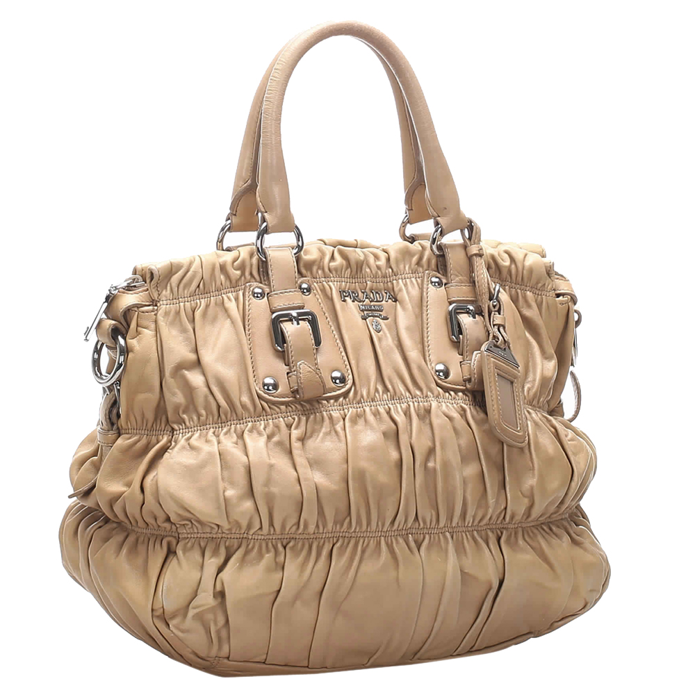 Prada Brown/Beige Nappa Leather Satchel Bag  - buy with discount