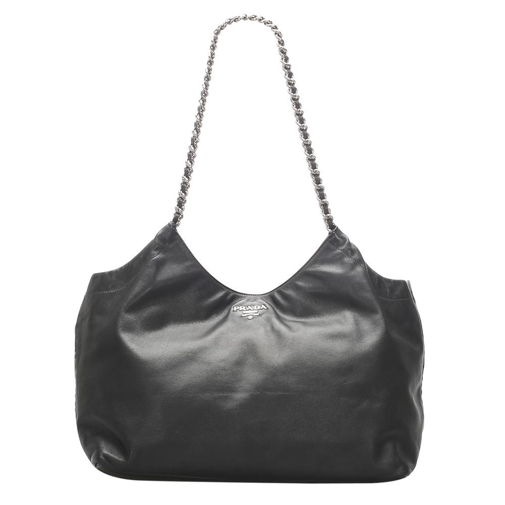 Pre-owned Prada Black Chain Leather Tote Bag