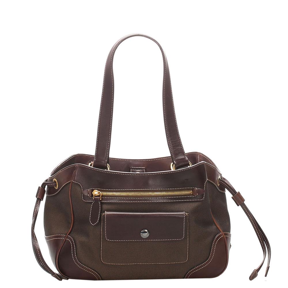 Pre-owned Prada Brown Canapa Canvas Tote Bag