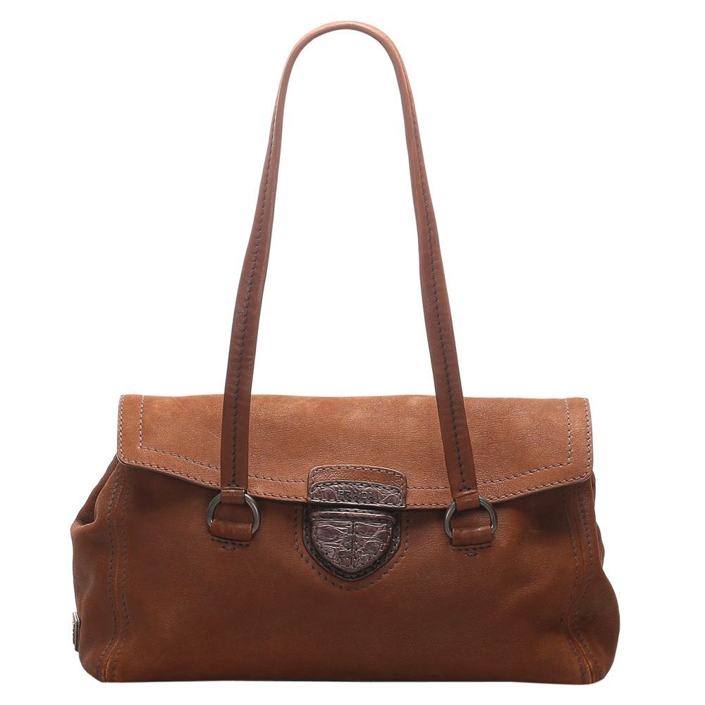 Pre-owned Prada Brown Leather Easy Shoulder Bag