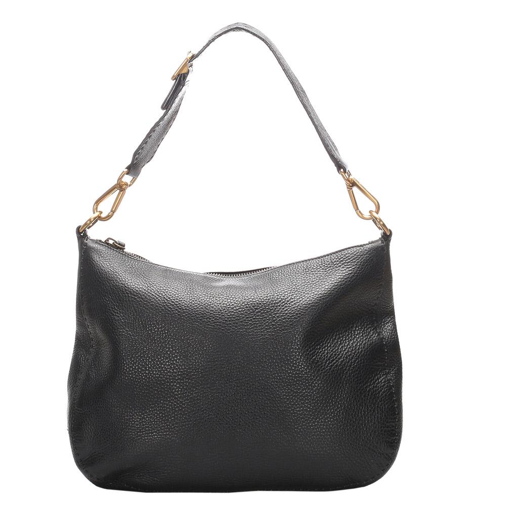 Pre-owned Prada Black Leather Vitello Daino Shoulder Bag