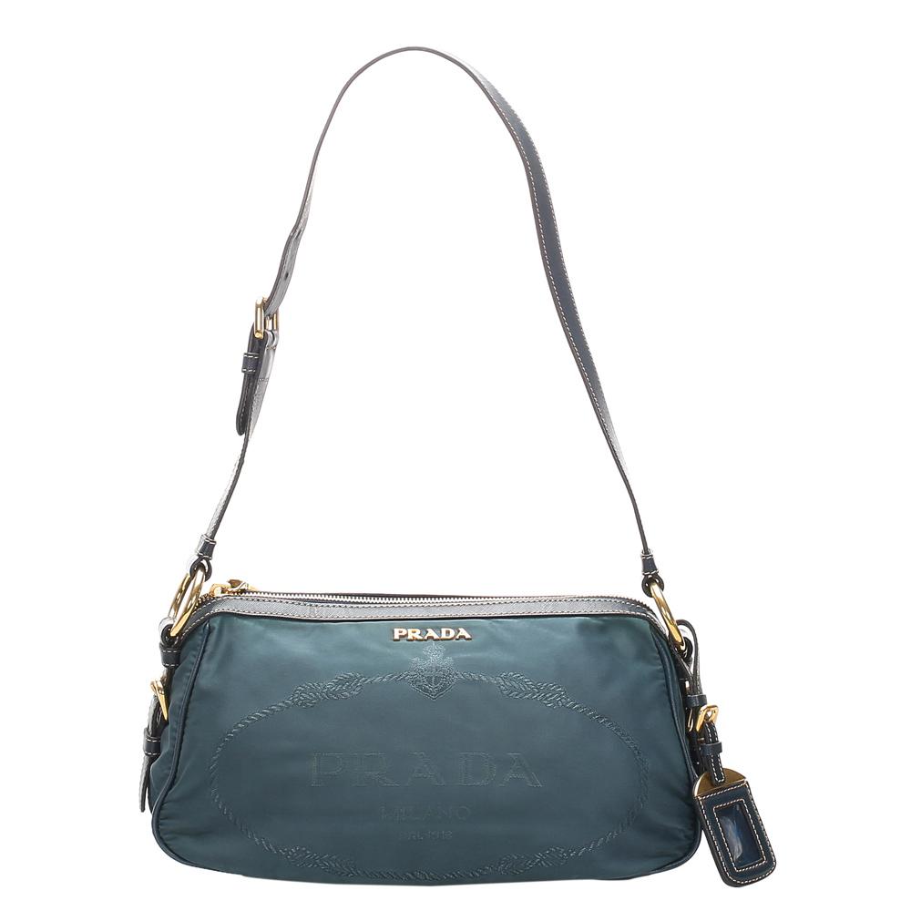 Pre-owned Prada Blue Nylon Tessuto Shoulder Bag