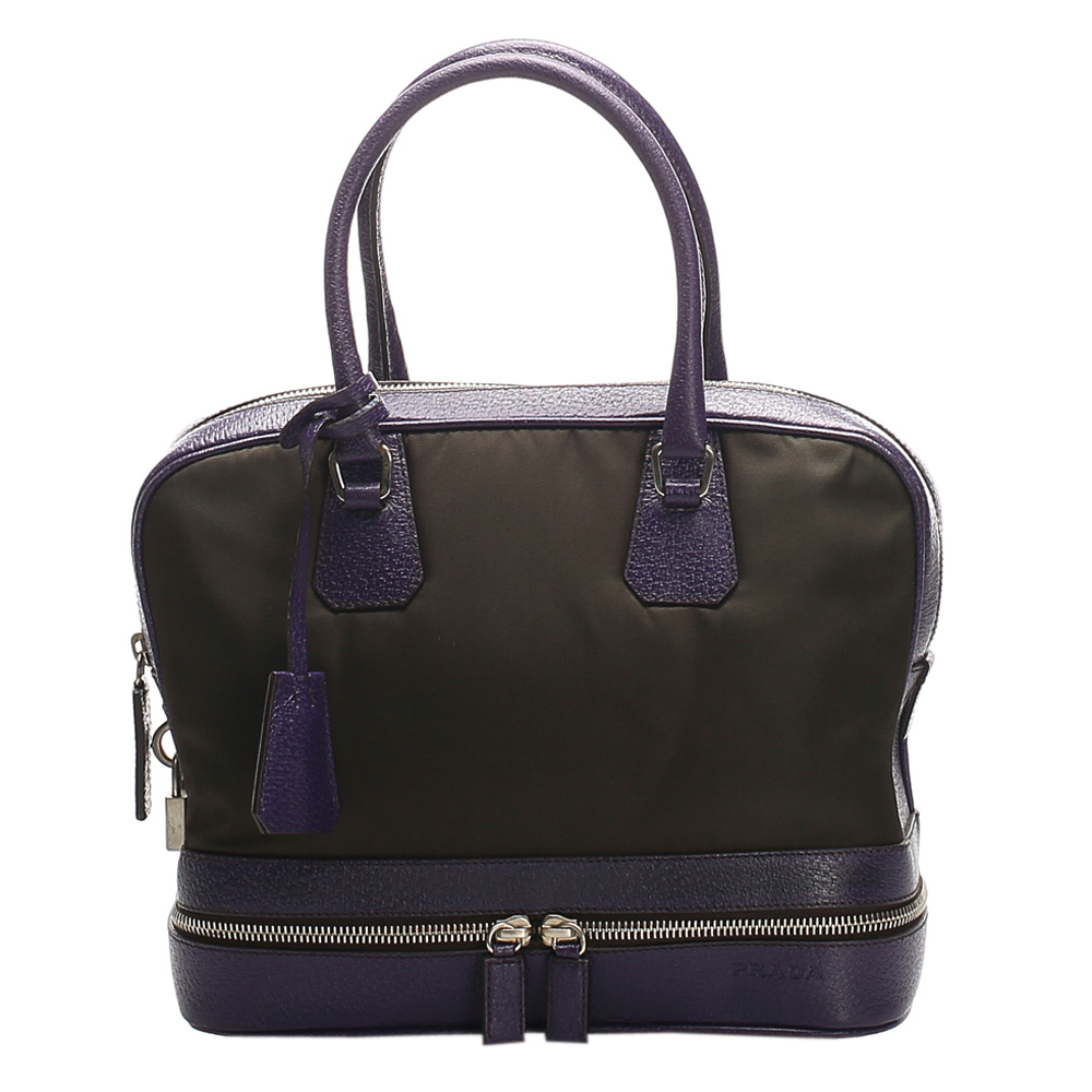 Pre-owned Prada Green/purple Nylon Satchel Bag