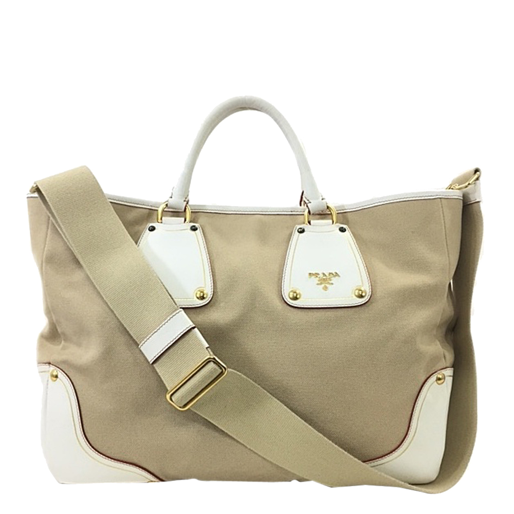 Pre-owned Prada Beige/white Canvas And Leather 2way Tote