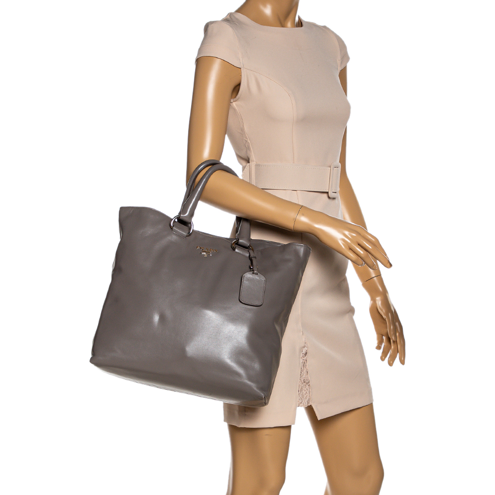 Prada Grey Soft Calf Leather Shopper Tote  - buy with discount