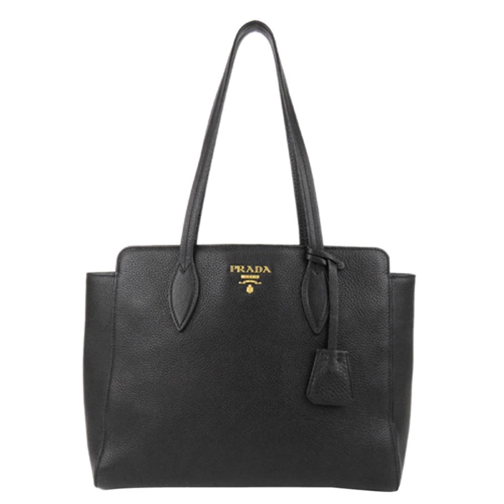Pre-owned Prada Black Leather Vitello Phenix Tote Bag